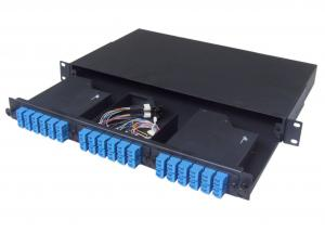 China Rack Mounted MPO Patch Panel , 1U Fiber Optic Patch Panel with cold rolled steel on sale