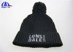 China Black Adult Acrylic Knit Beanie Hats with Top Ball , Womens Knitting Beanie Cap on sale