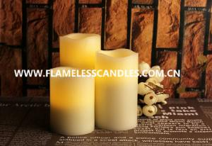 China Flameless LED Candles / Large White Pillar Candles With Moving Sensor And Wavy Edge on sale