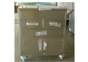 China 2 Drawers Stainless Steel Hospital Medical Trolley Emergency Trolley Cart For Instrument (ALS-SS04) on sale