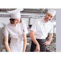 Single Breasted Custom Work Shirts , White Short Sleeve Embroidered Chef Coats