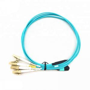 China 5M OM4 MPO Fiber Optic Patch Cord 12 Core Female Fan - Out LC Connector on sale