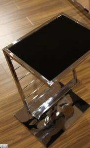 Quality Metal Glass Magazine Rack , Shiny Stainless Steel Sitting Room Furniture , Book for sale