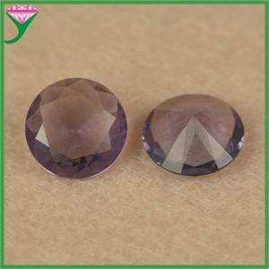 China wholesale price 10mm round cut loose synthetic amaranth purple glass semi precious stone on sale