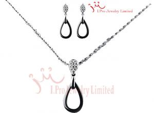 China Sterling Silver Jewelry Sets Black Ceramic Vintage Filigree Teardrop Stur Earring on sale