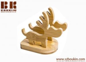 China 2018 new fashion hot handmade carving cute gift craft Beech Wood Deer Shaped Decorative Cell Phone Stand Holder on sale