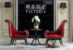 China Villa house luxury furniture of Coffee table and Leather chaise chairs for Living lobby furniture China factory selling on sale