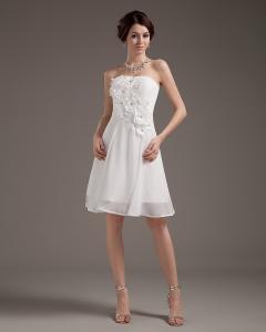 China Strapless Chiffon Appliques Wedding Dress Girls tea length wedding gowns on sale