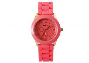 China Geneva Analog Quartz Watch / Three Bead Silicone Wristwatch for Party on sale
