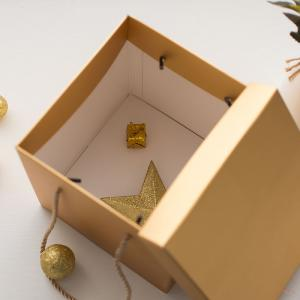 China 20CM  Rose Gold Square Shredded Kraft Paper Gift Box With Lids on sale