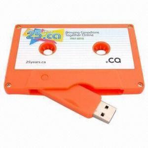 China USB Flash/Full Capacity Flash Memory Drive, Cassette Tape USB, Novel and Innovative on sale