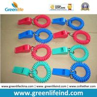 China Red/Blue Plastic Wrist Band Coil Loop with Plastic Alerting Whistles on sale