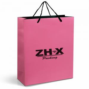 China Orange Shopping Paper Bags Glossy Lamination / Beautiful Paper Bags With Handles on sale