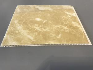 China Durable Decorative PVC Garage Wall Panels Yellow Marble Color 25cm Width on sale