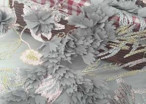 China Water Soluble Embroidery Pink Lace Fabric /  100% Polyester Yellow Lace Fabric on sale