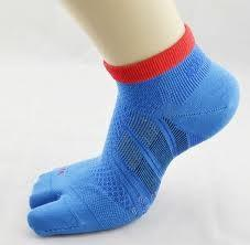 China custom blue Healthy Organic Cotton Knit Men's Athletic Two Toe Socks for running on sale