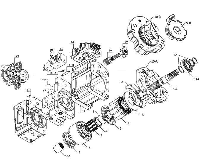 High Efficiency Hydraulic Piston Pump Spare Parts K5v200 Kawasaki