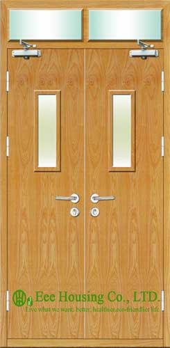 Commercial Fire Retardant Wooden Doors With Glass Panel 50mm