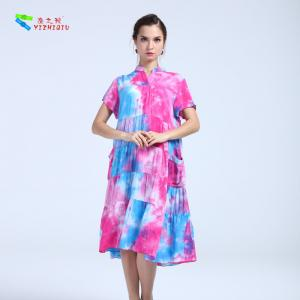 China 100% Cotton Summer Clothing Womens Casual Summer Dresses V Neck Knee - Length on sale