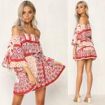 Summer Dresses Women Boho Printed Off Shoulder Mini Dress