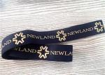 30MM Black Jacquard Elastic Band Silk - Screen Printed With Glossy Golden Silicone Logo