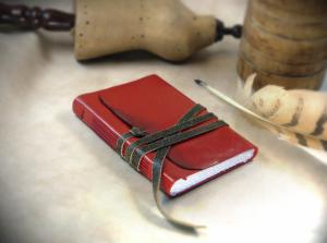 China Red Leather Journal - Hand Bound Romantic Notebook, Diary on sale