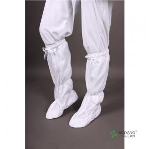 China New Arrives Cleanroom Soft Sole Static Dissipative White With Stripe Antistatic ESD Knee Sock Boots on sale