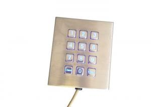 China Stainless Steel 3x4 Keypad , Blue LED / RS232 Interface Single Hand Keyboard on sale
