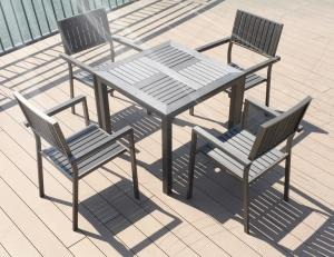 China Modern imitative wood chair Outdoor Garden furniture sets Coffe table poly wood chair on sale