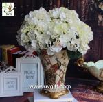 China UVG FHY22 White decorative fabric flower artificial hydrangea for wedding table decoration wholesale