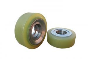 China Forklift Truck Parts Pu Caster Wheel With 90mm Cast Iron Core Yellow Color on sale