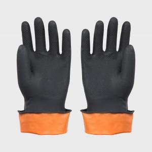China Black Hand Work Industrial Latex Gloves For Men Long Sleeve Wave Cuff on sale