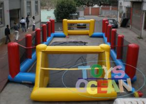 China Yellow Inflatable Football Pitch Soccer Field  / Fun Interactive Party Games on sale