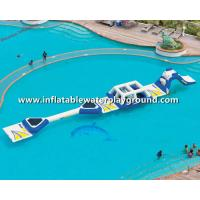 16.8m Long Aquaglide Inflatable Water Parks With Runway, White & Blue Water Playground