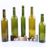 China 375ml 500ml 750ml Empty Glass Wine Bottles Dark Green Glass Bottles For Liquor Vodka / Whisky on sale