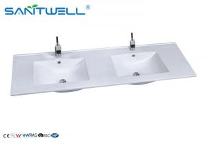 China AB8003-150D Sanitary Ware White Ceramic Sink / Easy Clean Double Wash Basin supplier