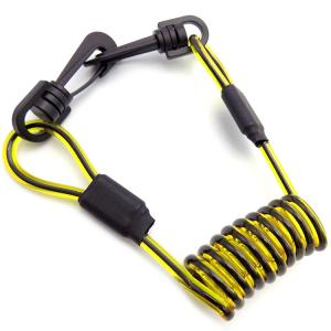 China Yellow Clear PVC Coated Black PU Coil Plastic Tool lanyard With Plastic Swivel Snap Hook on sale