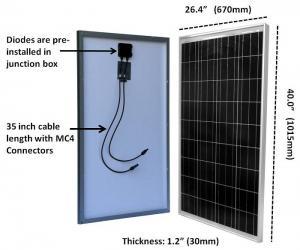 China TPT Backsheet Residential 100W  Polycrystalline Solar Module 3.2mm Tempered Glass on sale