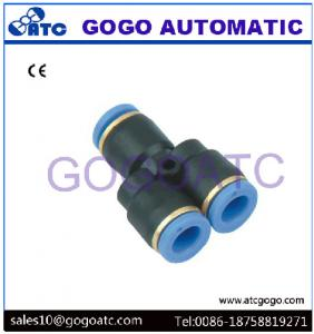 China Pneumatic 8mm Stainless Quick Connect Fittings , Plastic Hose 3 Way Y Type Air One Touch Quick Coupler Fittings on sale