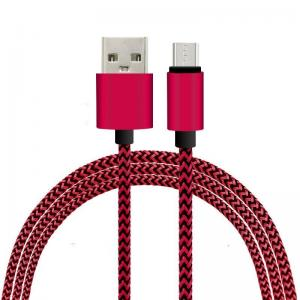 China 1M Fabric Nylon Braided Micro Flexible USB Cable for Samsung / Blackberry on sale
