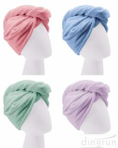 China Custom Wholesale Fast Dry Absorbent Wrapped Twist Microfiber Hair Turban Towel with Buttons on sale