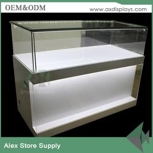 China Wood/ glass/MDF mobile phone accessories counter display design showcase display on sale
