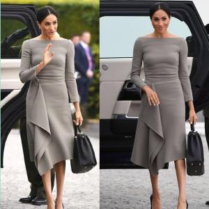 China New Autumn Vintage Dress Grey Good Quality Harry Princess Megan Elegant Chic Midi Dress Long Sleeve Slash Neck on sale