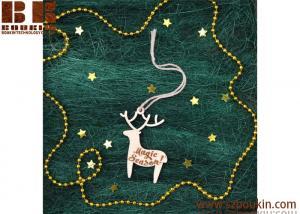 China laser cut wooden christmas snowflake hanger decoration wooden deer Laser Cut Christmas Ornaments Handmade on sale