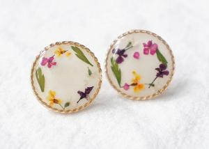 China The Secret Garden Anniversary Gift Dry Mixed Flowers Woman Fashional Earstuds With 925 Silver on sale