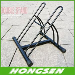 China Two position steel bicycle wheel racks stand for parking supplier