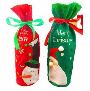 China Embroidery Kids Christmas Craft Gifts Wine Bags Santa Snowman Drawstring Soft Felt on sale