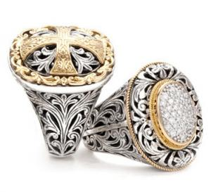 China Classical Fashion Jewelry Rings , 925 Sterling Silver Cross Men Ring Size 6 - 12 on sale