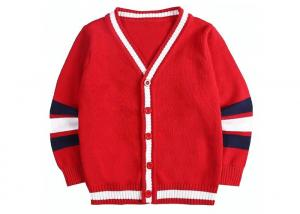China Children Knitted Girls Red School Cardigan Sweater Striped Sleeve Pattern on sale