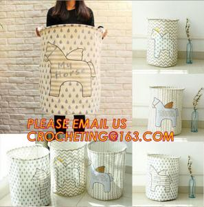 China canvas fabric collapsible laundry bag or basket with cotton handles folding laundry basket with handle on sale